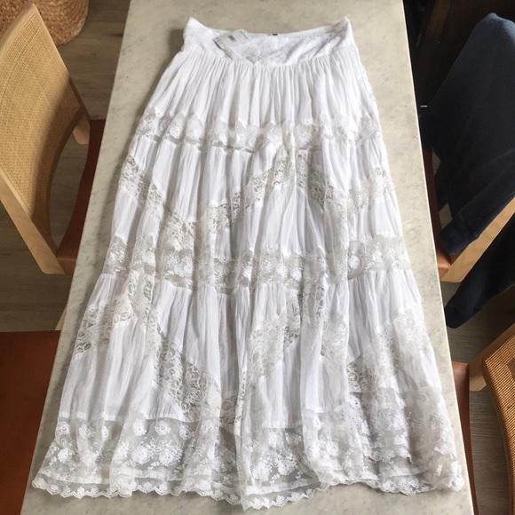 Free People White Cotton & Lace Maxi Skirt